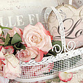 Dreamy Shabby Chic Roses White Basket Love Print by Kathy Fornal