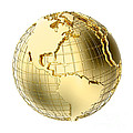 Earth in Gold Metal isolated on white Print by Johan Swanepoel