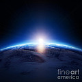 Earth sunrise over cloudy ocean  Poster by Johan Swanepoel