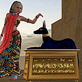 Egyptian Woman and Anubis Statue Print by Corey Ford