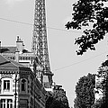 Eiffel Tower Black and White 4 Poster by Andrew Fare