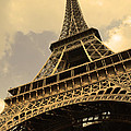 Eiffel Tower Paris France Sepia Print by Patricia Awapara