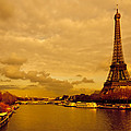Eiffel Tower Rising Over the Seine Poster by Mark E Tisdale