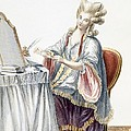 Elegant Lady At Her Dressing Table Print by Pierre Thomas Le Clerc