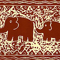 Elephant and calf lino print brown Print by Julie Nicholls