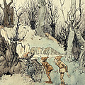 Elves in a Wood Print by Arthur Rackham