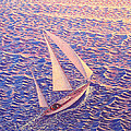 ENCHANTED PASSAGE  sailboat sailing on ocean at sunset picture  Poster by John Samsen