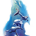 endangered sea life Water colour giclee print with eye and sea mammals Ocean Tears Print by Sassan Filsoof