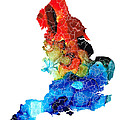 England - Map of England by Sharon Cummings Print by Sharon Cummings