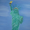 Enterprise on Statue of Liberty Print by Vandna Mehta