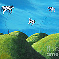Even Cows Have Strange Dreams by Shawna Erback Art Print by Shawna Erback