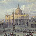 Exterior of St Peters in Rome from the Piazza Print by Louis Haghe