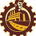 Factory Worker Mechanic With Cog Building Poster by Aloysius Patrimonio