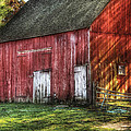 Farm - Barn - The old red barn Print by Mike Savad