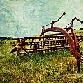 Farm Equipment in a field Print by Amy Cicconi