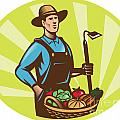Farmer With Garden Hoe And Basket Crop Harvest Print by Aloysius Patrimonio