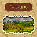 Farming and country life button Print by Mike Savad