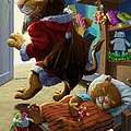 Father Christmas lion delivering presents Print by Martin Davey