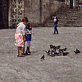 Feeding Pigeons in Santiago de Compostela Print by Mary Machare