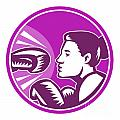 Female Boxer Punch Retro Print by Aloysius Patrimonio