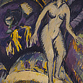 Female Nude with Hot Tub Print by Ernst Ludwig Kirchner