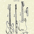 Fender Bass Guitar 1953 Patent Art  Poster by Prior Art Design