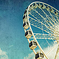 Ferris wheel retro Print by Jane Rix
