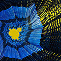 Field of force - yellow blue and black abstract fractal art Print by Matthias Hauser