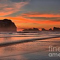 Fiery Ripples In The Surf Print by Adam Jewell