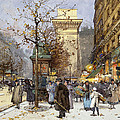 Figures on Le Boulevard St. Denis at Twilight Print by Eugene Galien-Laloue