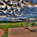 Fire Clouds Over a Gettysburg Cannon Print by Andres Leon