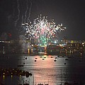 Fireworks at Night for the 4th of July over Fort Walton Beach from 14th Floor Balcony Print by Jeff at JSJ Photography