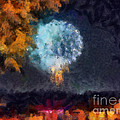 Fireworks Through the Trees Print by Chris Reed