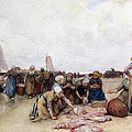 Fish Sale on the Beach  Print by Bernardus Johannes Blommers