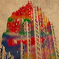 Fisher Building Iconic Buildings of Detroit Watercolor on Worn Canvas Series Number 4 Print by Design Turnpike