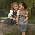 Fishing For Frogs Print by William Bouguereau