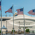 Five US Flags flying proudly in front of the megayacht Seafair - Miami - Florida - Panoramic Print by Ian Monk