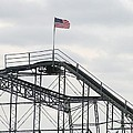 Flag mounted on Seaside Heights Roller Coaster Print by Melinda Saminski