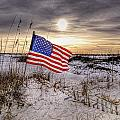 Flag on the Beach Poster by Michael Thomas