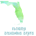 Florida - Sunshine State - Map - State Phrase - Geology Print by Andee Photography