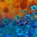 Flower Fantasy in Blue and Orange  Print by Ann Powell