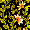 Flower images artistic from Thai painting and literature Print by Pakorn Kitpaiboolwat