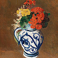 Flowers in a Blue Vase Poster by Odilon Redon