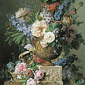 Flowers in an Alabaster Vase Poster by Gerard Van Spaendonck