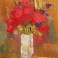 Flowers in White vase Print by Becky Kim