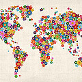 Flowers Map of the World Map Print by Michael Tompsett