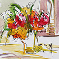 Flowers Red and Yellow Print by Becky Kim