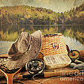 Fly fishing equipment  with vintage look Print by Sandra Cunningham
