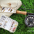 Fly fishing rod and asessories Poster by Sandra Cunningham
