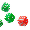 Flying Craps Dice  Print by Olivier Le Queinec